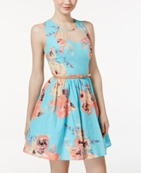 City Triangles City Studios Juniors' Belted Floral Print Fit And Flare Dress