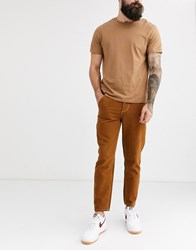 Celio Worker Trousers In Tobacco Brown