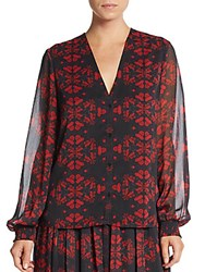 Alice Olivia Cassandra Lotus Print Chiffon Blouse Red Lotus