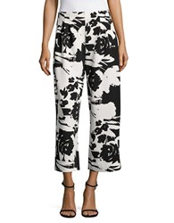 Joan Vass Pleated Floral Cropped Pants Black