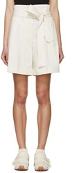 3.1 Phillip Lim Cream Belted Paperbag Shorts