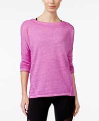 Betsey Johnson Acid Ash Open Back Long Sleeve Top Neon Orchid