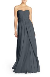 Women's Jenny Yoo 'Mira' Convertible Strapless Pleat Chiffon Gown Storm