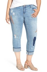 Democracy Plus Size Women's Embroidered Distressed Crop Skinny Jeans