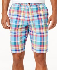 Tommy Hilfiger Men's Plaid Cotton Shorts Sodalite Blue