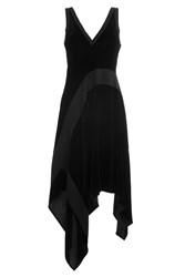 Dkny Velvet Dress With Asymmetric Hemline Black