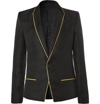 Haider Ackermann Black Slim Fit Gold Trimmed Linen And Silk Blend Blazer