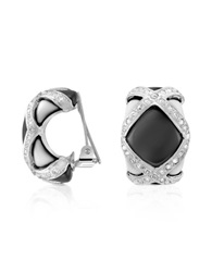 A Z Collection Black And White Clip On Earrings