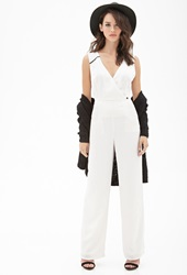 Forever 21 Faux Leather Trimmed Surplice Jumpsuit Cream Black