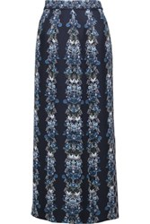 Mother Of Pearl Kapka Printed Silk Crepe De Chine Maxi Skirt Midnight Blue