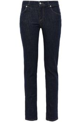Versus By Versace Woman Embroidered Mid Rise Skinny Jeans Dark Denim