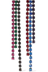 Christopher Kane Silver Tone Crystal Earrings One Size