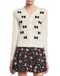Marc Jacobs Ls V Bow Cardi Swt White Pattern