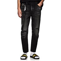 Off White C O Virgil Abloh Distressed Skinny Jeans Black