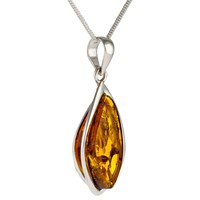 Be Jewelled Sterling Silver Triangle Amber Pendant Necklace Cognac