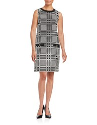 Karl Lagerfeld Houndstooth Sleeveless Sheath Dress Black Ivory