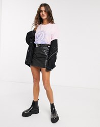 Bershka Western Belted Faux Leather Mini Skirt In Black