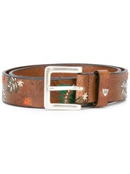 Htc Hollywood Trading Company Printed Belt Women Cotton 80 Brown