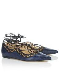 Bionda Castana Navy Snake Print Leather Lace Up Flats Blue