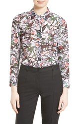 Ted Baker Women's London Lupia Print Peter Pan Collar Shirt Grey