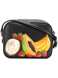 Dolce And Gabbana Fruit Print Satchel Women Leather One Size Black
