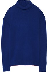 Issa Split Back Cashmere Blend Sweater Blue