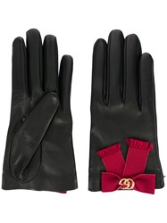Gucci Bow Embellished Gloves Black