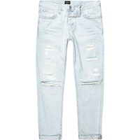 River Island Light Blue Wash Cody Ripped Loose Fit Jeans