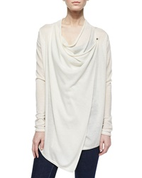 Elie Tahari Maritza Cashmere Draped Sweater Tan