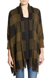 Junior Women's Sun And Shadow Buffalo Check Open Front Cardigan Olive Dark Fuzzy Plaid