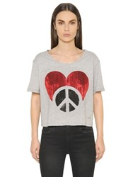 Love Moschino Sequined Crop Cotton Jersey T Shirt