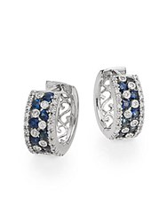 Effy 0.35 Tcw Diamond Sapphire And 14K White Gold Huggie Hoop Earrings White Gold Blue
