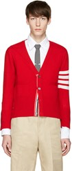 Thom Browne Red Classic Short V Neck Cardigan