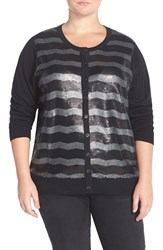 Foxcroft Sequin Stripe Cardigan Plus Size Black