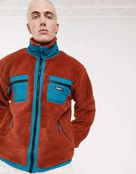 Obey Out There Sherpa Jacket In Red
