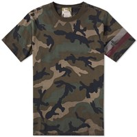 Valentino Distressed Camo Tee Green
