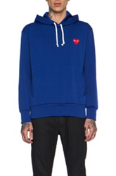 Comme Des Garcons Play Red Emblem Poly Hoodie In Blue