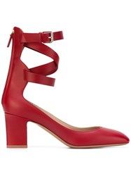 Valentino Ankle Strap Sandals Women Leather 37.5 Red