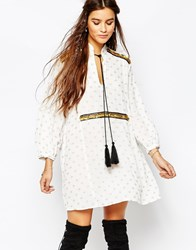 Native Rose Moonshine Smock With Sequin Detail And Tassel Cream