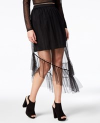 By Glamorous Asymmetrical Illusion Skirt Created For Macy's Black Mesh