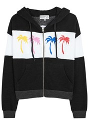 Wildfox Couture Royal Palm Printed Fleece Sweatshirt Black And White