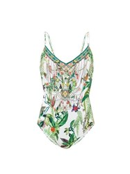 Camilla Daintree Darling Crystal Jungle Print Swimsuit White Print