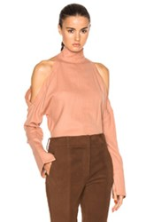 Tibi Slit Sleeve Top In Orange
