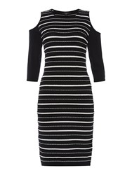 Therapy Albany Broken Stripe Bodycon Dress Black White Black White