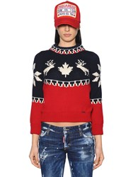 Dsquared Intarsia Wool Knit Sweater