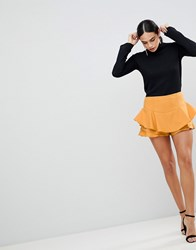 Ax Paris Ruffle Mini Skirt Yellow