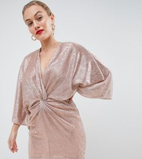 Flounce London Petite Wrap Front Kimono Mini Dress In Rose Gold Metallic Rose Gold
