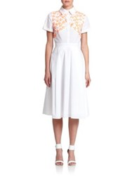 Tanya Taylor Mia Embroidered Stretch Cotton Shirtdress White
