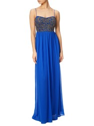 Adrianna Papell Beaded Bodice Sleeveless Gown Royal Blue
