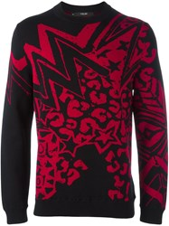 Sibling 'Grandmaster Flash' Jacquard Jumper Black